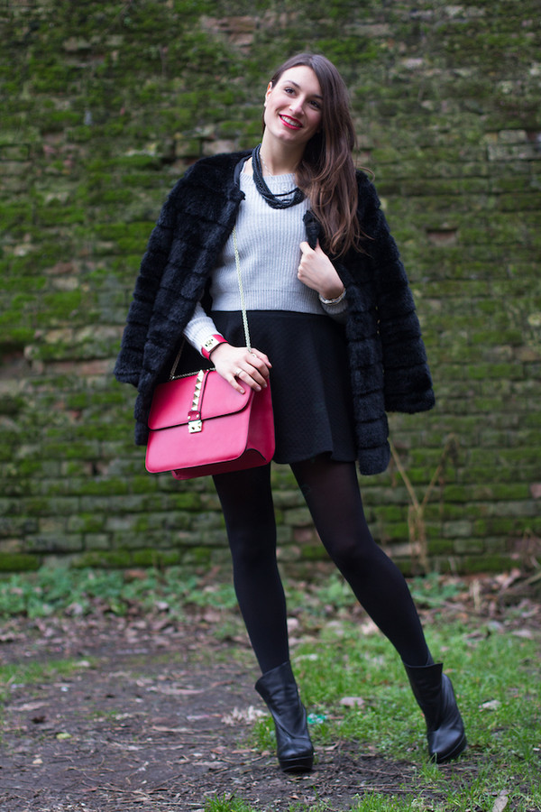 style and trouble bag jewels shoes skirt sweater