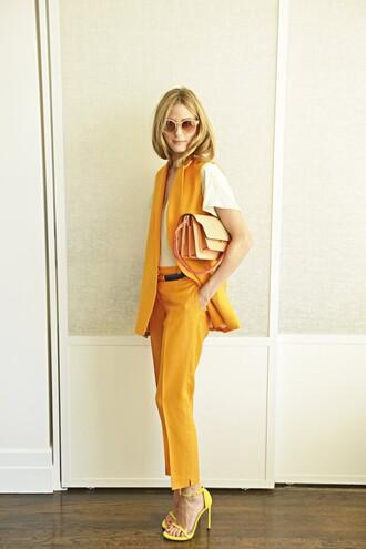 olivia palermo pants jacket shirt shoes t-shirt yellow pants