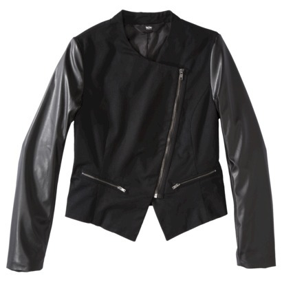 Mossimo® Women's Faux Leather Sleeve Moto Ja... : Target