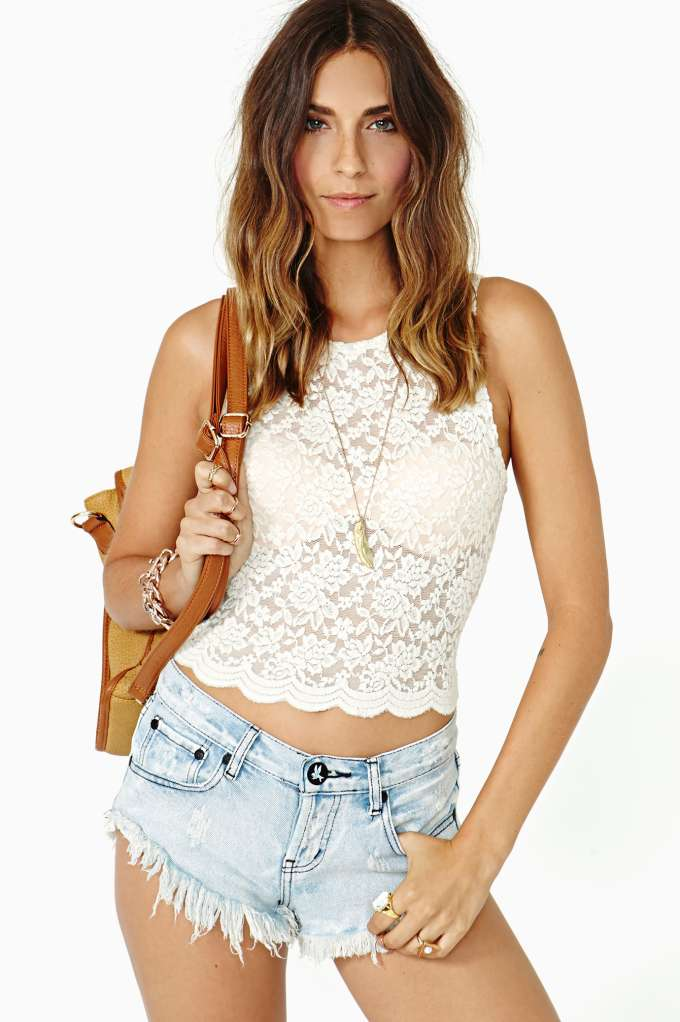 Camille Lace Crop Top - Ivory  in  Clothes Tops Cropped at Nasty Gal