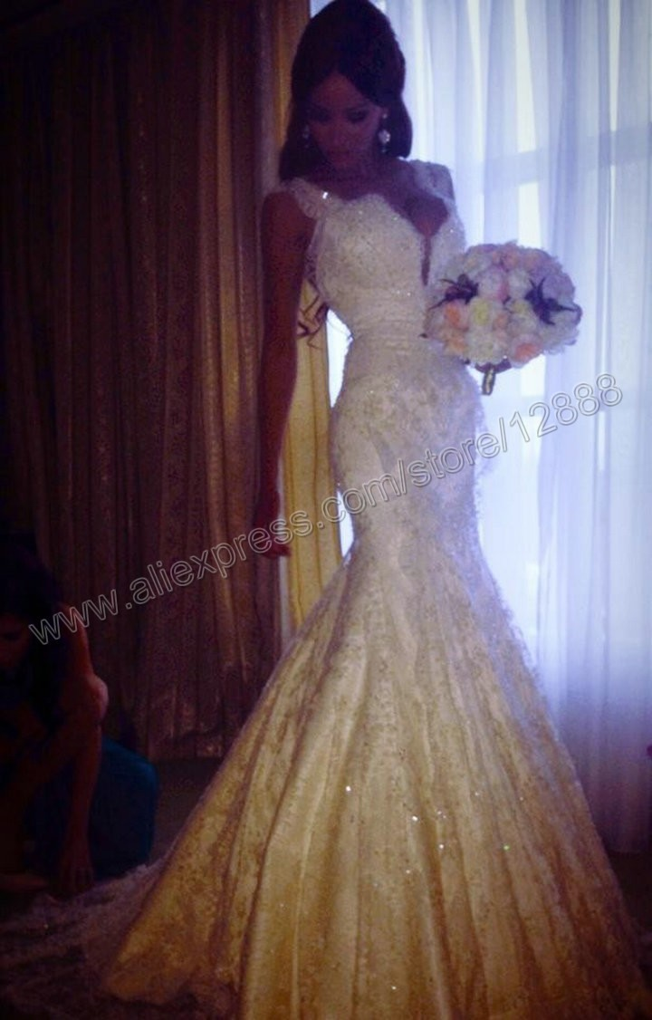 Popular Style White Satin Lace Cap Sleeve Mermaid Lace Wedding Dress Bridal Gown 2014-in Wedding Dresses from Apparel & Accessories on Aliexpress.com