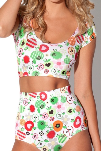 shirt fruits colorful patterns crop tops shorts