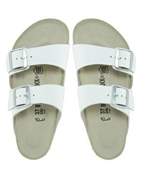 Birkenstock   Birkenstock Arizona White Leather Two Strap Sandals at ASOS