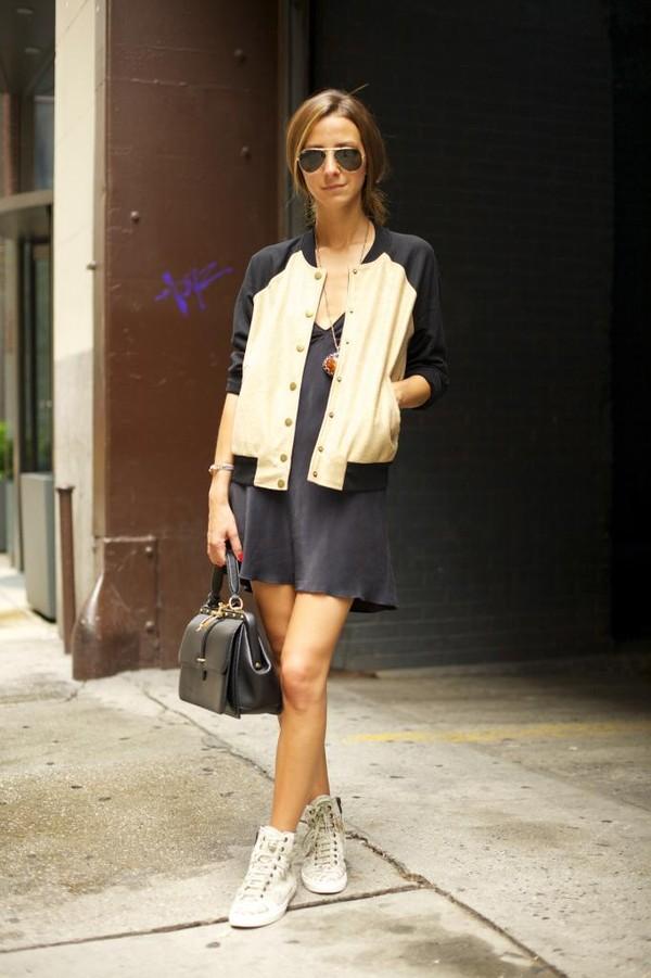 something navy jacket dress bag shoes sunglasses jewels