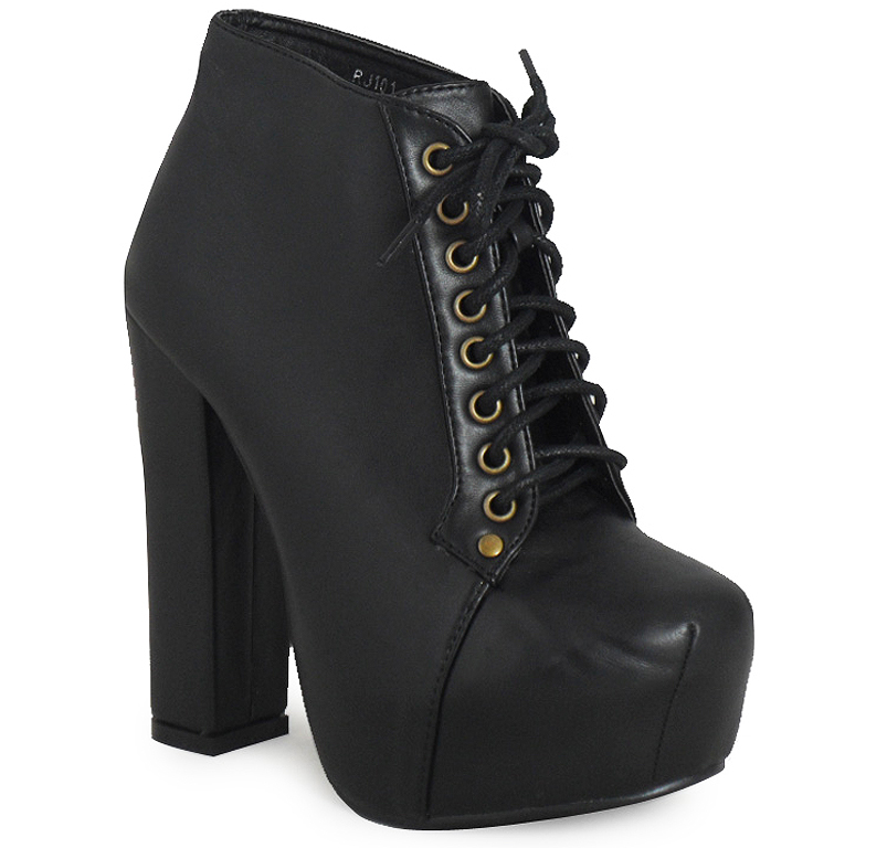 WOMENS LADIES BLACK LACE UP CONCEALED PLATFORM BLOCK HIGH HEEL SHOES BOOTS 3-8 | eBay