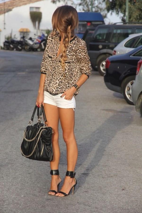 blouse leopard blouse black leather ankle straps