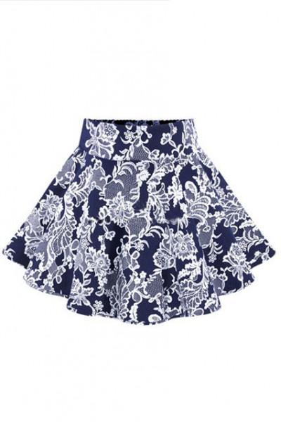 KCLOTH Floral Printed Skater Skirt  (Black / Blue )