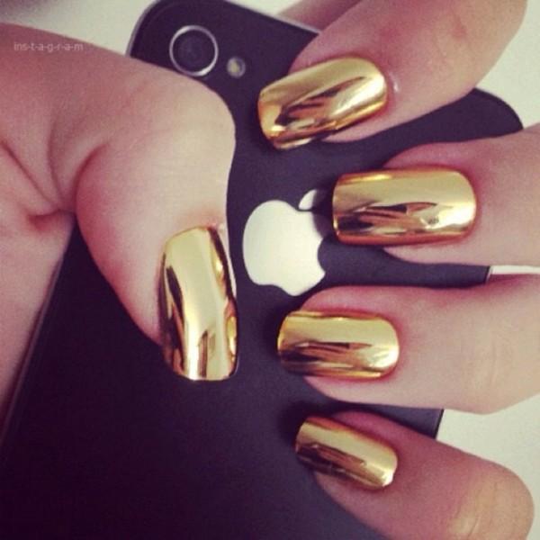 nail polish nails gold metallic