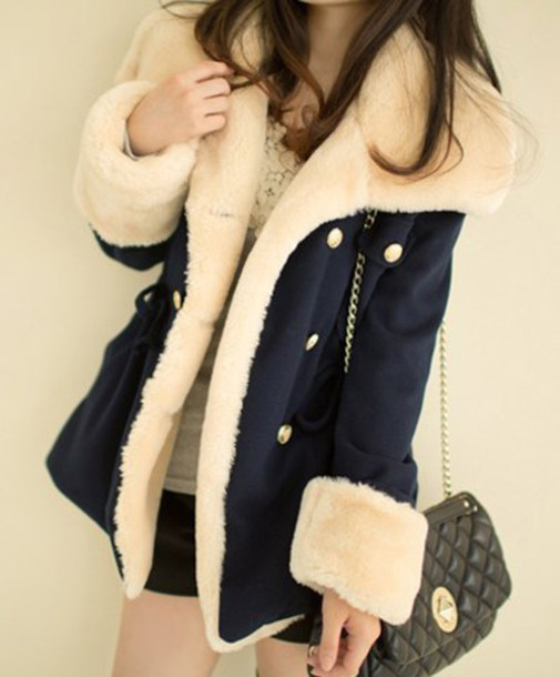 Coat Warm Fluffy Korean Style Blue Navy Wool Jacket Cute Fall Outfits Winter Outfits Fashion Style Cozy Casual Cream Wheretoget