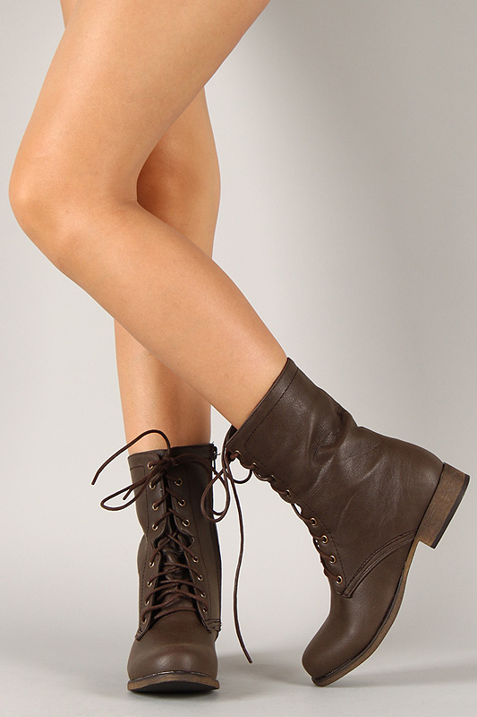 Fassio Round Toe Lace Up Military Boot