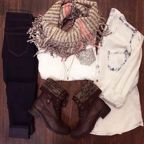 blouse jeans scarf shoes shirt