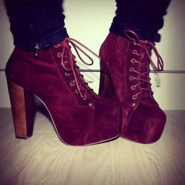 shoes high heels platform high heels lace up velvet burgundy thick heel platform lace up boots velvet boots velvet shoes