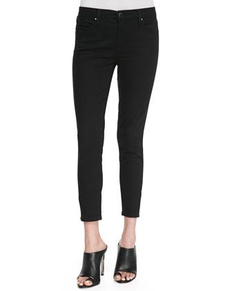 Blank Skinny Cropped Zip-Ankle Jeans, Black