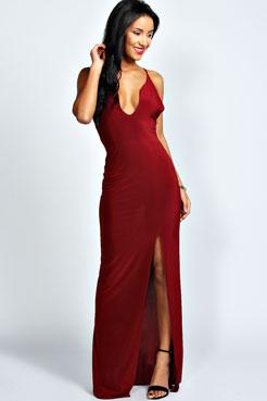 Sophie Plunge Neck Front Split Maxi Dress at boohoo.com