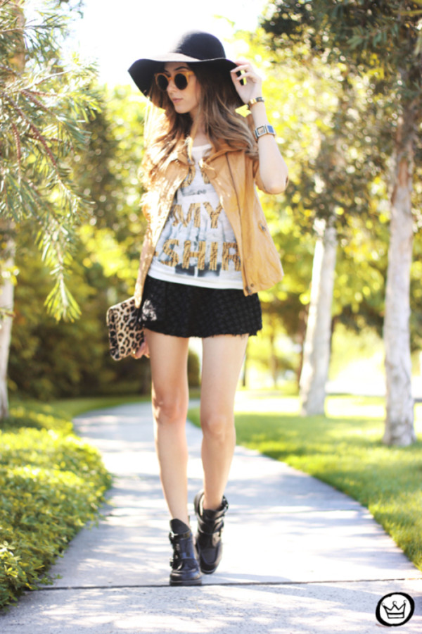 fashion coolture t-shirt skirt jacket sunglasses shoes