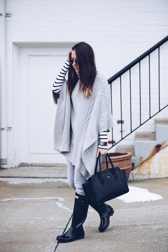 fashionably kay blogger top jeans shoes jewels poncho striped top handbag wellies boots
