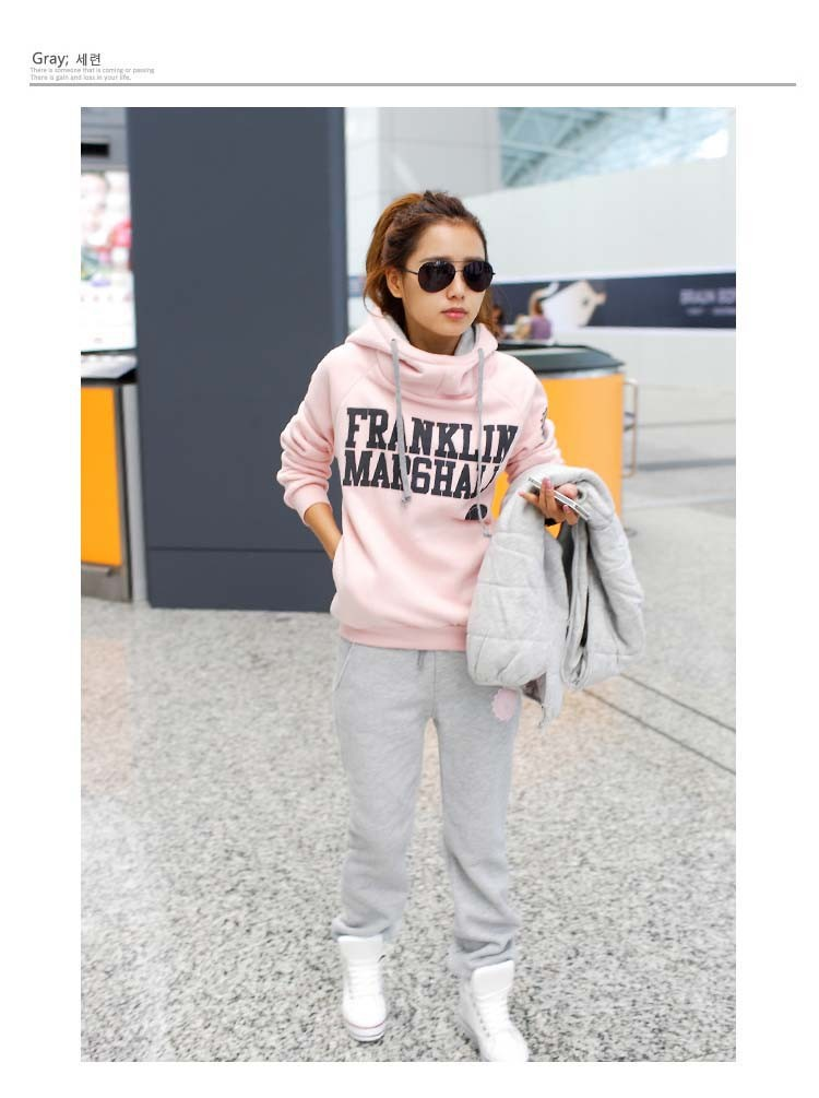 Korean sport sweater autumn & spring season good quailty women's warm letters sweatshirt hoodie 3pcs/set new 2014-in Hoodies & Sweatshirts from Apparel & Accessories on Aliexpress.com