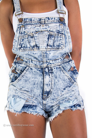 Acid Wash Destroyed Denim Overall Shorts