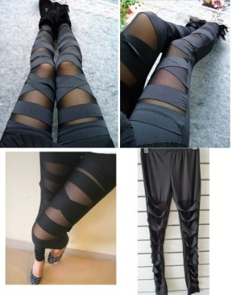 Amazon.com: Tougs Women Sexy Stretch Cross Straps Mesh Inset Stripes Ankle Length Footless Legging Tregging Tight One Size: Clothing