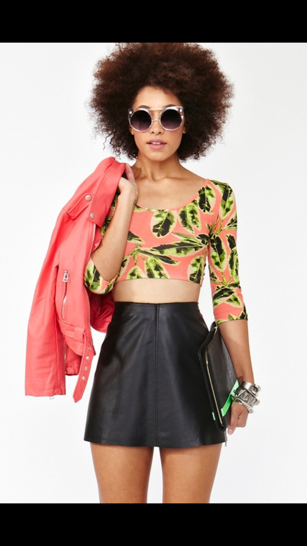 skirt black leather black leather skirt black skirt coral leather jacket crop tops floral green jacket shirt