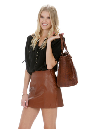 Shoptiques — Brown Leather Skirt