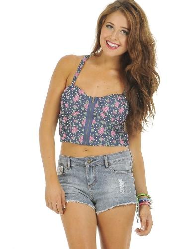 Blue/Rose Rosie Cropped Floral Bustier  | $10.50 | Cheap Blouses Fashion | MODdeals.com