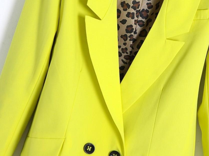 Yellow Notch Lapels Contrast Leopard Sleeve Lining Blazer - Sheinside.com