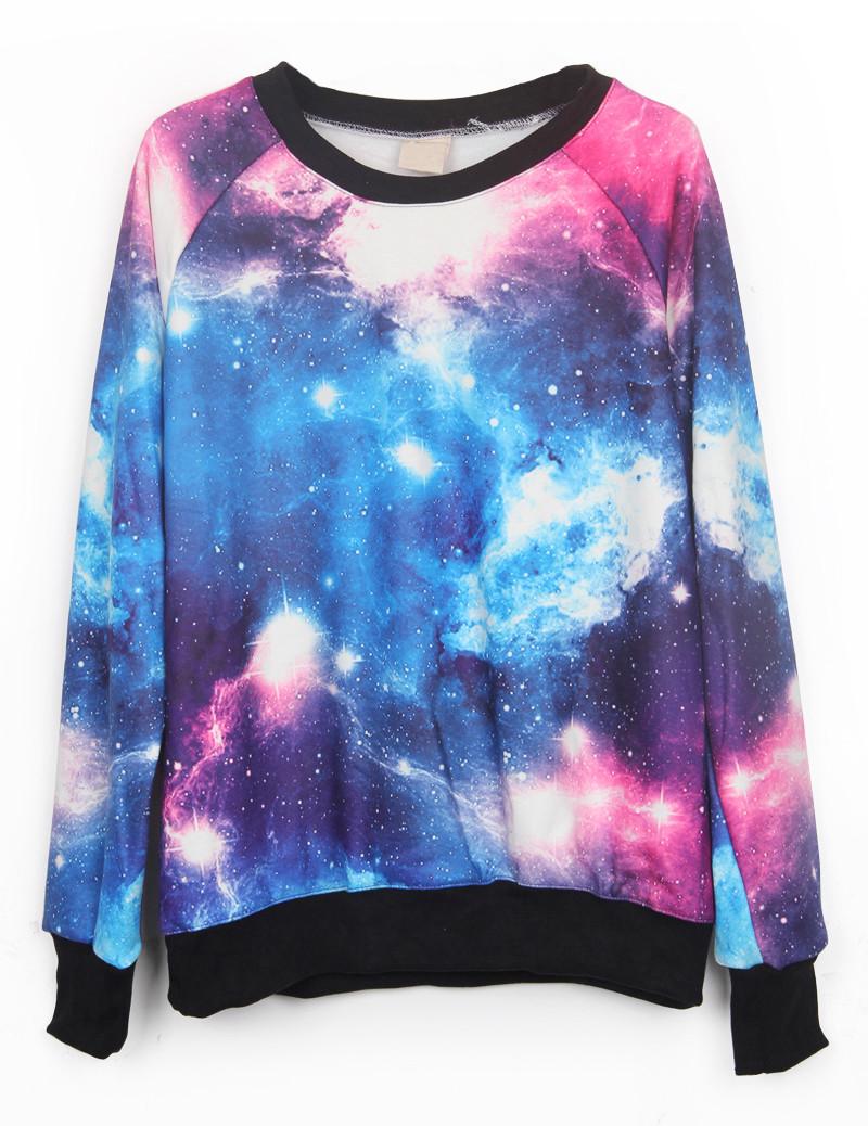 Colorful Galaxy Print Jumper Sweatshirt - PrettyGuide