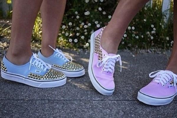 shoes light blue or light pink vans vans blue or pink vans with rivetss help me to find those shoess pink studded pretty light blue light pink baby pink baby blue pastel blue pastel pink studded shoes