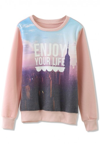 Scenic Print Sweater in Pink - Retro, Indie and Unique Fashion