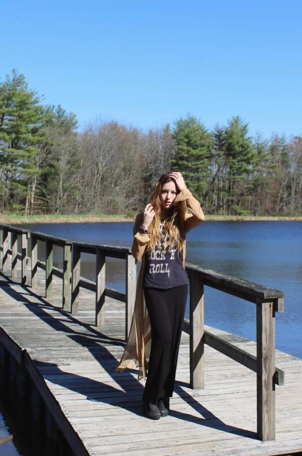 wolf + lace cardigan t-shirt skirt