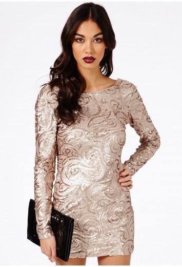 Hatsumia Gold Sequin Swirl Bodycon Dress - Dresses - Mini Dresses - Missguided | Ireland