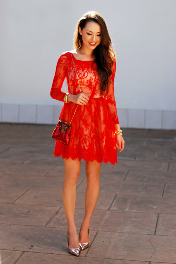 dress lace silver bag red dress