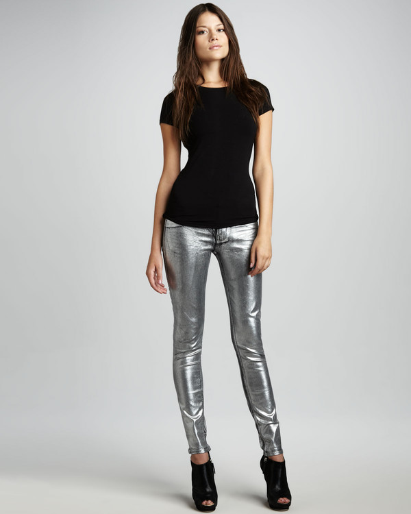 jeans silver metallic metallic jeans trendy holidays party clubwear trendy style stylish celebrity