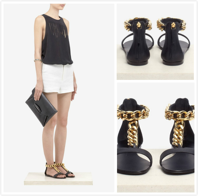 2013 New Design Brand Black Sheepskin Flat GZ Sandals With Golden Chains Fashion Dress Summer Ankle Strap Shoes-in Sandals from Shoes on Aliexpress.com