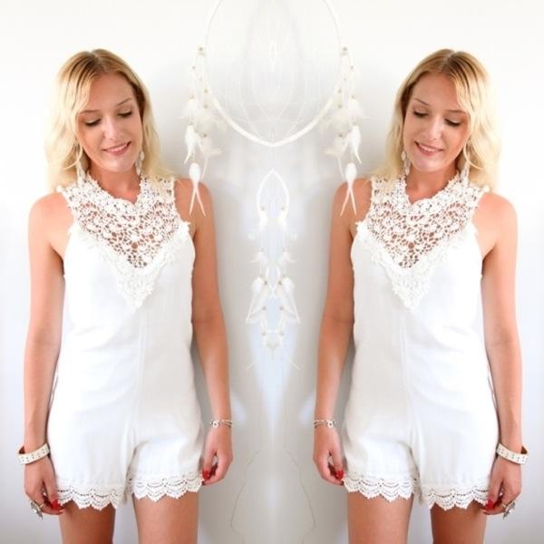 White Bohemian Lace High Neck Scalloped HEM Tied Back Playsuit Jumpsuit S M L | eBay