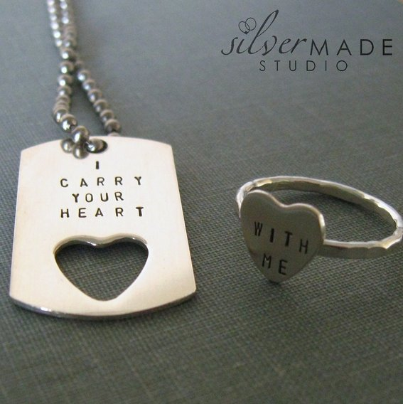 Handmade I Carry Your Heart Petite Dog Tag And Sterling Silver Heart Ring by SilverMade Studio | CustomMade.com