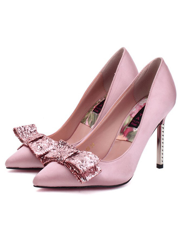 shoes pointed shoes pink shoes heels bow heels
