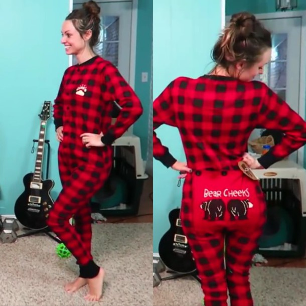 Pajamas: butt cheeks, red, flannel, black, jumpsuit, plaid ...