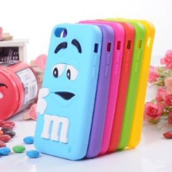 JBG Red iphone 5C Cute 3D Cartoon Milk Chocolate Bean M&M Figer Bean Soft Silicone Back Case For Apple iphone 5C on Wanelo