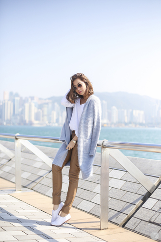 kryzuy blogger pants knitted cardigan coat sweater shoes bag sunglasses jewels