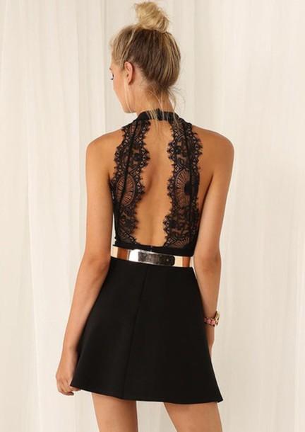 jumpsuit halter neck romper romper dress black dress lace dress gold belt open back dresses little black dress