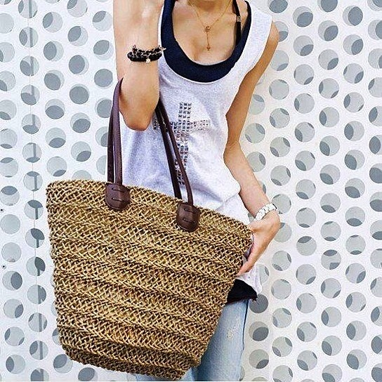 Straw Beach Tote, Beach Tote, Beach Bag from LadyBagsSF - Products tagged with totes, bags