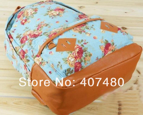 Fashion canvas pastoralism flowers for 14 inch laptop Women Lady girl's student handbag shoulder bag backpack leisure-in Backpacks from Luggage & Bags on Aliexpress.com