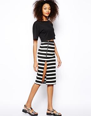 Vero Moda | Vero Moda Wide Stripe Zip Skirt at ASOS