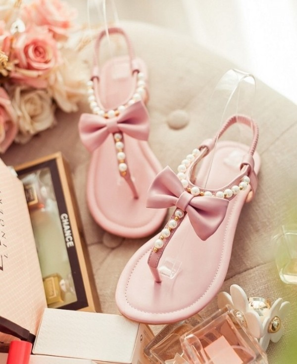 shoes pastel bow cute sandals pink pearl summer shoes