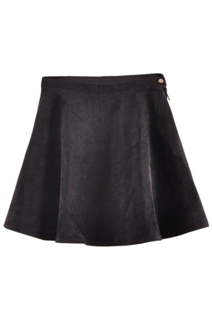 ROMWE   Right Button Black Velvet Skirt, The Latest Street Fashion