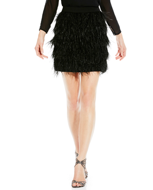 FEATHER TIERED MINISKIRT Vince Camuto