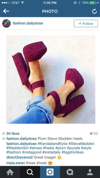 shoes steve madden plum heels