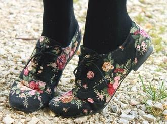 shoes floral floral brouges flats laced up flats low heel oxfords floral oxfords brouges